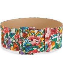 multicolored floral-print belt