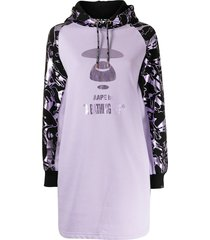 aape by *a bathing ape® graphic-print hooded shift dress - purple