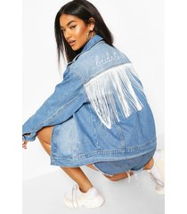 bride to be embroidery tassel jean jacket, mid blue