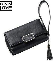 billetera mujeres- monedero de la borla de la borla de-negro
