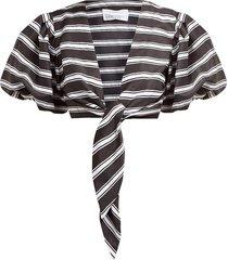 striped tie front satin shirt