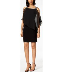 msk petite embellished chiffon-overlay dress