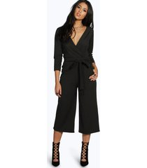 roll sleeve relaxed culotte jumpsuit, black