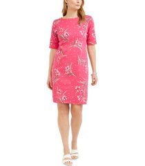 karen scott printed boat-neck dress, in regular and petite, created for macy's