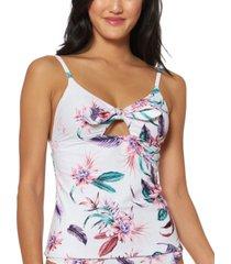jessica simpson printed fiji fever bow-front keyhole tankini top women's swimsuit