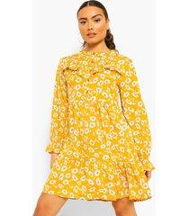 bloemenprint skater jurk met ruches en ballonmouwen, mustard