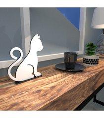 escultura de mesa adorno gato em mdf branco brilhante único