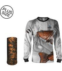 camisa + máscara pesca quisty bagre bruto proteção uv dryfit plus size - camiseta de pesca quisty