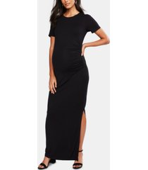 a pea in the pod luxe ruched maternity maxi dress