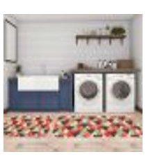 kit tapete lavanderia geometric color único 40x80