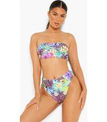 tropisch hoog uitgesneden bikini broekje met hoge taille, purple