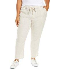plus size women's caslon drawstring waist linen pants