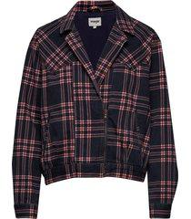 80´s jacket indigo check bomberjack zwart wrangler