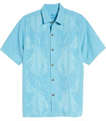 men's tommy bahama tahitian border classic fit silk shirt, size xxx-large - blue