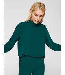 blusa manga larga con cuello alto verde petróleo esprit