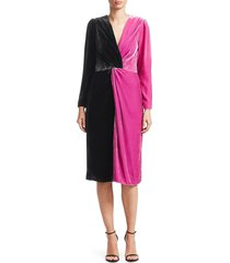 delfi collective women's frankie colorblocked velvet dress - black pink - size xs