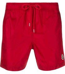 moncler logo patch swim shorts - red