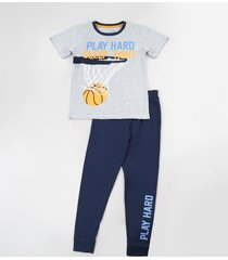 "pijama infantil basquete ""play hard"" manga curta cinza mescla"