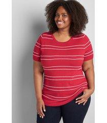 lane bryant women's lane essentials ruched-side sweater 10/12 joyful red