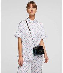 karl lagerfeld women's k/karl seven iridescent mini shoulder bag - black