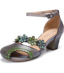 socofy décolleté d'orsay con tacco a punta aperta e cinturino alla caviglia con fibbia ritagliata floreale in pelle