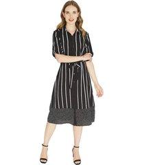 vestido manga 3,4 negro estampado lorenzo di pontti