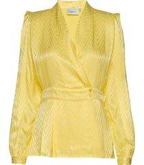 lynngz blouse ms20 blouse lange mouwen geel gestuz