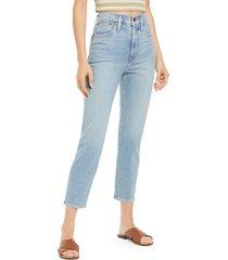 women's madewell super high waist mom jeans, size 27 - blue