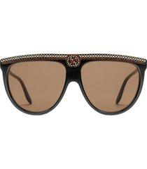 gucci eyewear crystal embellished oversized sunglasses - black