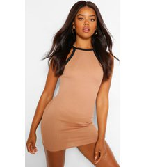 contrast trim mini dress, camel