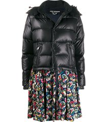 junya watanabe floral print peplum puffer jacket - black