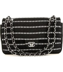 chanel pre-owned timeless tweed shoulder bag - black