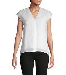 pure navy women's v-neck linen top - white - size m