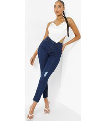 versleten skinny jeans met hoge taille en gerafelde zoom, indigo