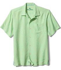 men's tommy bahama al fresco tropics classic fit silk shirt, size medium - blue
