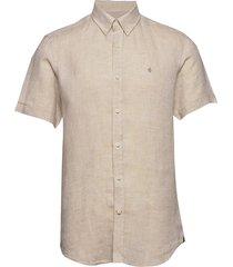 douglas ss linen shirt kortärmad skjorta beige morris