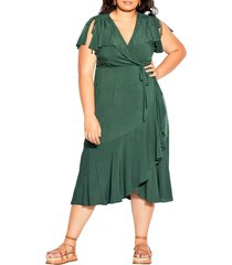 city chic palm love wrap dress, size x-small in jungle at nordstrom