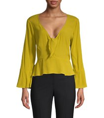 willow & clay women's tie-front peplum top - citron - size xs