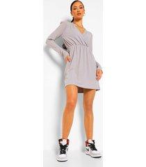 geribbelde skater jurk met schouderpads, grey