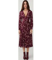 cherry bloom wine long sleeve tie dress