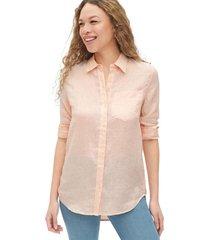 blusa de lino boyfriend rosa gap