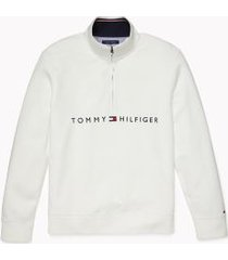 tommy hilfiger men's adaptive logo quarter zip sweatshirt snow white - l