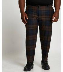 river island mens big & tall navy check print slim fit pants