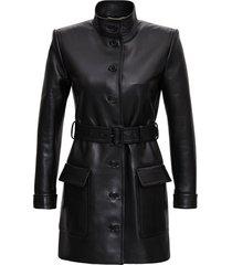 saint laurent long leather jacket with belt