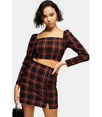 petite black tartan long sleeve crop blouse - black