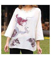 cotton batik tunic, 'majestic naga' (thailand)
