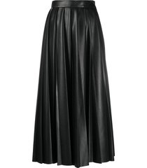 msgm faux-leather pleated skirt - black