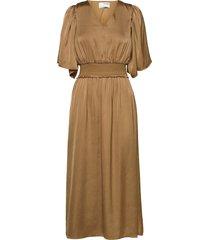 slfjonna 2/4 ankle dress b knälång klänning brun selected femme