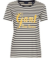 d1. stripe graphic ss t-shirt t-shirts & tops short-sleeved blauw gant