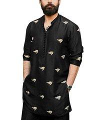 hombre casual cuello alto estampado manga larga botón frente camisa